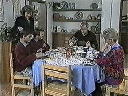 Beverly Marshall, Todd Landers, Nick Page, Jim Robinson, Helen Daniels in Neighbours Episode 1034