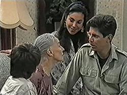 Toby Mangel, Mary Crombie, Kerry Bishop, Joe Mangel in Neighbours Episode 1038