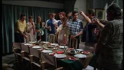 Karl Kennedy, Susan Kennedy, Libby Kennedy, Drew Kirk, Sally Kirk, Rose Kirk, Ron Kirk, Stuart Kirk, Dougal Kirk, Fergus MacLeod in Neighbours Episode 3708