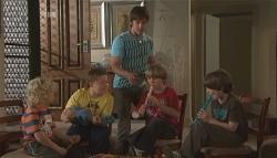 Charlie Hoyland, Callum Jones, Ty Harper, Mickey Gannon, Ben Kirk in Neighbours Episode 5658