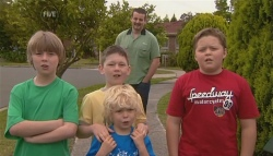 Mickey Gannon, Ben Kirk, Charlie Hoyland, Toadie Rebecchi, Callum Jones in Neighbours Episode 5679