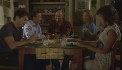 Declan Napier, Paul Robinson, Steve Parker, Miranda Parker, Rebecca Napier, Bridget Parker in Neighbours Episode 5680
