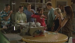 Karl Kennedy, Toadie Rebecchi, Dan Fitzgerald, Susan Kennedy, Greg Michaels, Steph Scully, Libby Kennedy in Neighbours Episode 5684