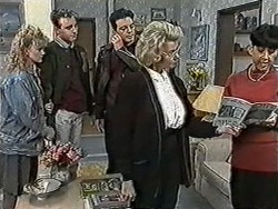Sharon Davies, Nick Page, Matt Robinson, Helen Daniels, Hilary Robinson in Neighbours Episode 1052