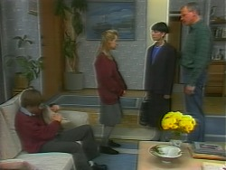 Todd Landers, Melissa Jarrett, Hilary Robinson, Jim Robinson in Neighbours Episode 1059