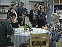 Paul Robinson, Beverly Robinson, Jim Robinson, Clive Gibbons, Melanie Pearson, Helen Daniels in Neighbours Episode 1067