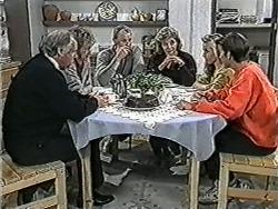 Ben Jarrett, Rona Jarrett, Jim Robinson, Beverly Robinson, Melissa Jarrett, Todd Landers in Neighbours Episode 1069