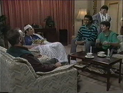 Harold Bishop, Des Clarke, Eddie Buckingham, Kerry Bishop, Joe Mangel in Neighbours Episode 1255
