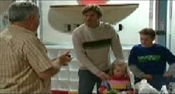 Lou Carpenter, Evan Hancock, Emily Hancock, Leo Hancock in Neighbours Episode 3833