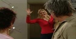 Lyn Scully, Janelle Timmins, Joe Mangel in Neighbours Episode 4826