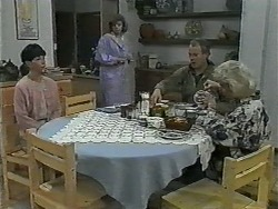 Hilary Robinson, Beverly Marshall, Jim Robinson, Helen Daniels in Neighbours Episode 1001