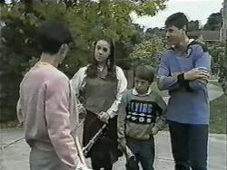 Hilary Robinson, Kerry Bishop, Toby Mangel, Joe Mangel in Neighbours Episode 1002