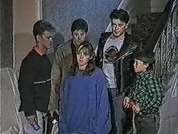 Henry Ramsay, Joe Mangel, Lee Maloney, Matt Robinson, Toby Mangel in Neighbours Episode 1090