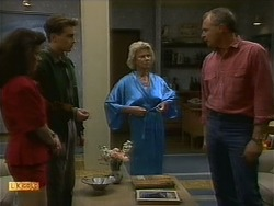 Lucy Robinson, Nick Page, Helen Daniels, Jim Robinson in Neighbours Episode 1093