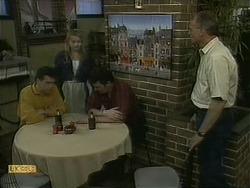 Paul Robinson, Melanie Pearson, Des Clarke, Jim Robinson in Neighbours Episode 1097