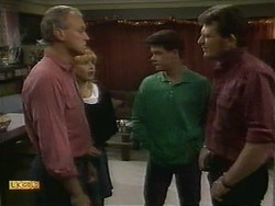 Jim Robinson, Melanie Pearson, Paul Robinson, Des Clarke in Neighbours Episode 1111