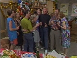 Nick Page, Bronwyn Davies, Paul Robinson, Helen Daniels, Hilary Robinson, Matt Robinson, Jim Robinson, Sharon Davies, Harold Bishop, Madge Bishop in Neighbours Episode 1113