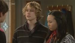Zeke Kinski, Robin Hester, Sunny Lee in Neighbours Episode 5784