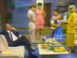 Jim Robinson, Beverly Marshall, Lucy Robinson, Todd Landers, Katie Landers, Helen Daniels in Neighbours Episode 0662
