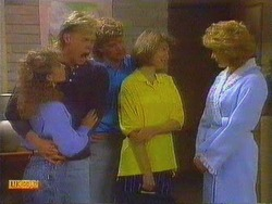 Charlene Robinson, Scott Robinson, Henry Ramsay, Beverly Robinson, Madge Ramsay in Neighbours Episode 0666