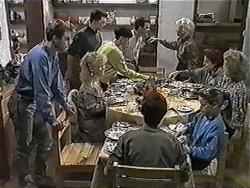 Nick Page, Matt Robinson, Sharon Davies, Hilary Robinson, Paul Robinson, Todd Landers, Helen Daniels, Katie Landers, Gail Robinson, Beverly Marshall in Neighbours Episode 1016
