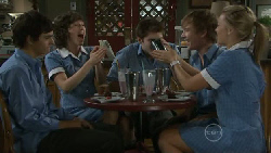 Zeke Kinski, Bridget Parker, Declan Napier, Ringo Brown, Donna Freedman in Neighbours Episode 5516