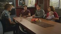 Andrew Robinson, Declan Napier, Paul Robinson, Rebecca Napier, India Napier in Neighbours Episode 5837