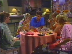 Clive Gibbons, Daphne Clarke, Des Clarke, Mike Young, Eileen Clarke in Neighbours Episode 0435