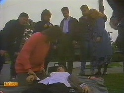 Joe Mangel, Henry Ramsay, Beverly Robinson, Bronwyn Davies, Paul Robinson, Nick Page, Sharon Davies in Neighbours Episode 0815
