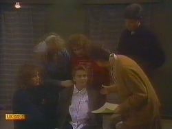 Henry Ramsay, Sharon Davies, Madge Bishop, Bronwyn Davies, Nell Mangel, Joe Mangel in Neighbours Episode 0815