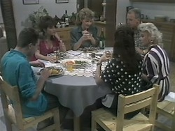 Nick Page, Christina Alessi, Beverly Marshall, Caroline Alessi, Jim Robinson, Helen Daniels in Neighbours Episode 1143