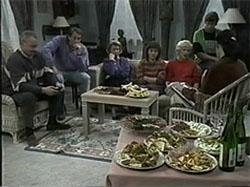 Jim Robinson, Doug Willis, Helen Daniels, Pam Willis, Madge Bishop, Ryan McLachlan, Dorothy Burke in Neighbours Episode 1335