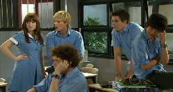 "Summer Hoyland, Andrew Robinson, Harry Ramsay, Chris Pappas, Dale ""Macca"" McGregor in Neighbours Episode 5919"