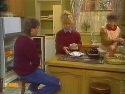 Nick Page, Sharon Davies, Nell Mangel in Neighbours Episode 0825