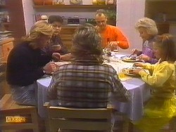 Scott Robinson, Beverly Robinson, Nick Page, Jim Robinson, Helen Daniels, Katie Landers in Neighbours Episode 0827