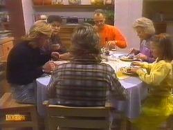 Scott Robinson, Beverly Marshall, Nick Page, Jim Robinson, Helen Daniels, Katie Landers in Neighbours Episode 0827