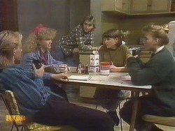 Scott Robinson, Sharon Davies, Nick Page, Jessie Ross, Bronwyn Davies in Neighbours Episode 0833