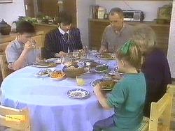 Todd Landers, Beverly Marshall, Jim Robinson, Katie Landers, Helen Daniels in Neighbours Episode 0835
