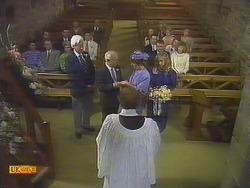 Charles Spencer, John Worthington, Reverend Sampson, Nell Mangel, Jane Harris in Neighbours Episode 0841