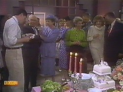 Joe Mangel, John Worthington, Nell Mangel, Beverly Marshall, Helen Daniels, Jim Robinson, Madge Bishop, Harold Bishop in Neighbours Episode 0841