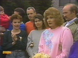 Jamie Clarke, Gail Robinson, Jim Robinson, Beverly Marshall, Madge Bishop, Reverend Sampson in Neighbours Episode 0842