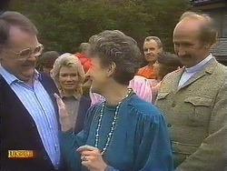 Harold Bishop, Helen Daniels, Nell Mangel, Jim Robinson, Beverly Marshall, Reverend Sampson in Neighbours Episode 0842