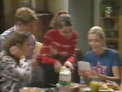 Anne Wilkinson, Lance Wilkinson, Hannah Martin, Amy Greenwood in Neighbours Episode 3111