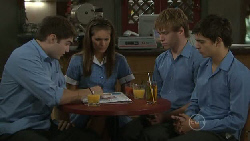 Declan Napier, Rachel Kinski, Ringo Brown, Zeke Kinski in Neighbours Episode 5463