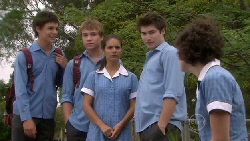 Zeke Kinski, Ringo Brown, Rachel Kinski, Declan Napier, Bridget Parker in Neighbours Episode 5469