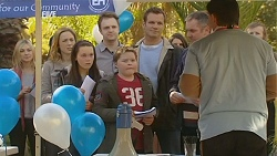 Sonya Mitchell, Sophie Ramsay, Callum Jones, Michael Williams, Karl Kennedy, Geoff Hadley in Neighbours Episode 6020