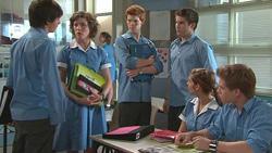 Zeke Kinski, Bridget Parker, Justin Hunter, Declan Napier, Rachel Kinski, Ringo Brown in Neighbours Episode 5289