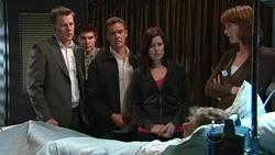 Oliver Barnes, Declan Napier, Paul Robinson, Rebecca Napier, Richard Aaronow, Dr Demi Vinton in Neighbours Episode 5291