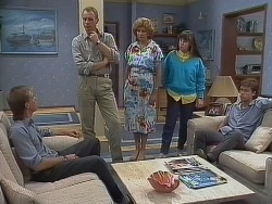Scott Robinson, Jim Robinson, Madge Mitchell, Nikki Dennison, Mike Young in Neighbours Episode 0266