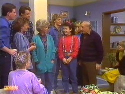 Des Clarke, Daphne Clarke, Gail Robinson, Paul Robinson, Helen Daniels, Henry Ramsay, Lucy Robinson, Jane Harris, Rob Lewis, Charlene Mitchell in Neighbours Episode 0502